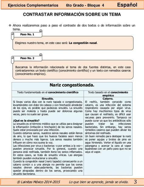 ejercicios complementarios bloque 4 6to grado 2015 2016 6to grado bloque 4 ejercicios complementarios