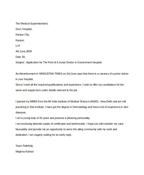 Application Letter Sle Business Sle Of Application Letter For In Hospital 28 Images 8 Sle Application Letter For Doctors