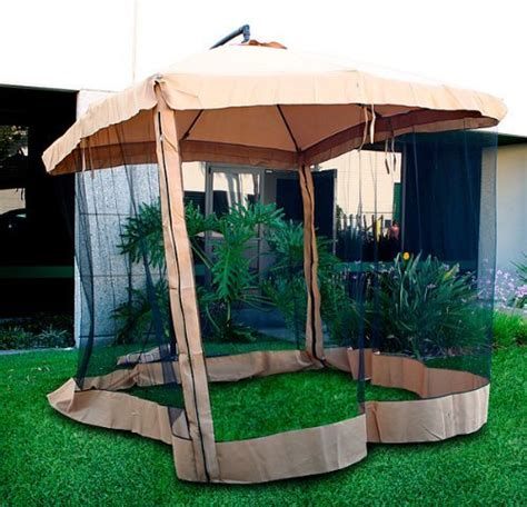Patio Umbrella With Netting Offset Patio Umbrella Instant Gazebo With Mesh Netting Gazebo Canopy Lowes