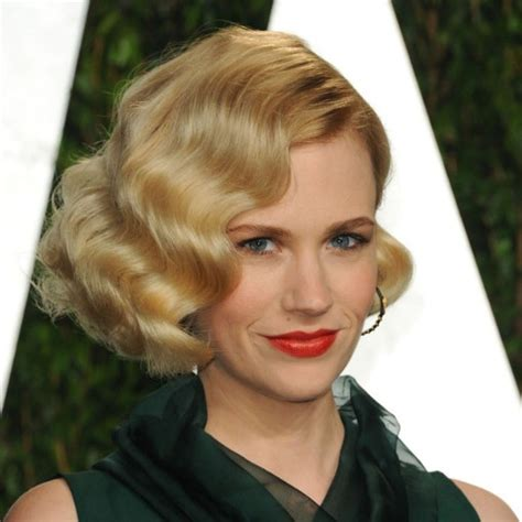 finger wave bob hairstyle for black hair january jones romantic short curly bob hairstyle finger