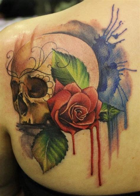 watercolor sugar skull tattoo gallery watercolor flower shoulder