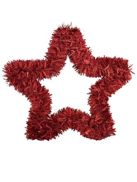 red metallic hanging decoration tinsel star 48cm