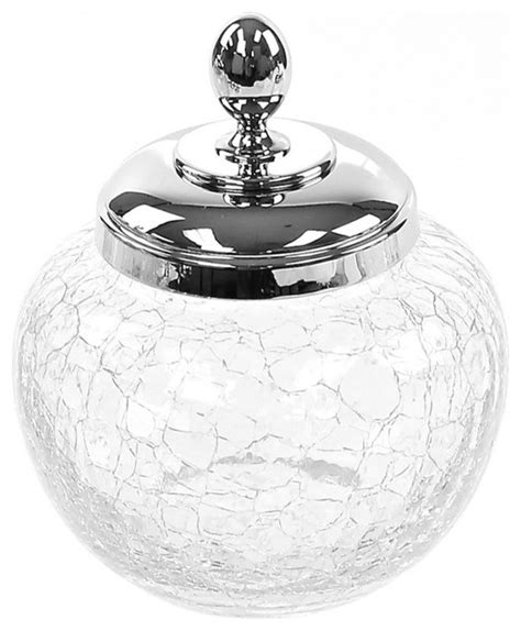 cracked glass bathroom accessories crackled glass cotton pads jar