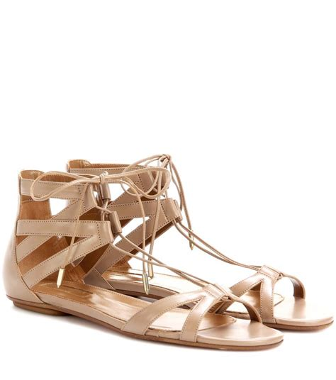 aquazzura beverly flat leather sandals in liscotto modesens