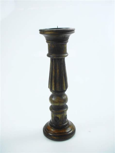 Brown Candle Holders Shabby Chic White Brown Rustic Carved Pillar Church