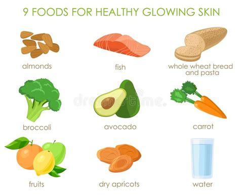 alimenti pelle nove alimenti per pelle sana vettore illustrazione