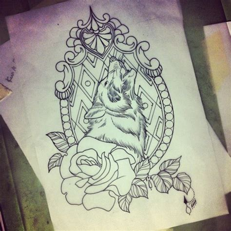 wolf and rose tattoo frame tattoos