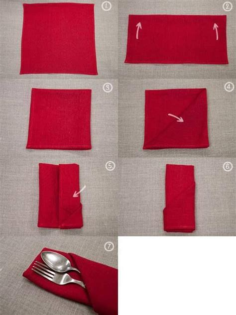 Paper Napkin Folding With Silverware Inside -