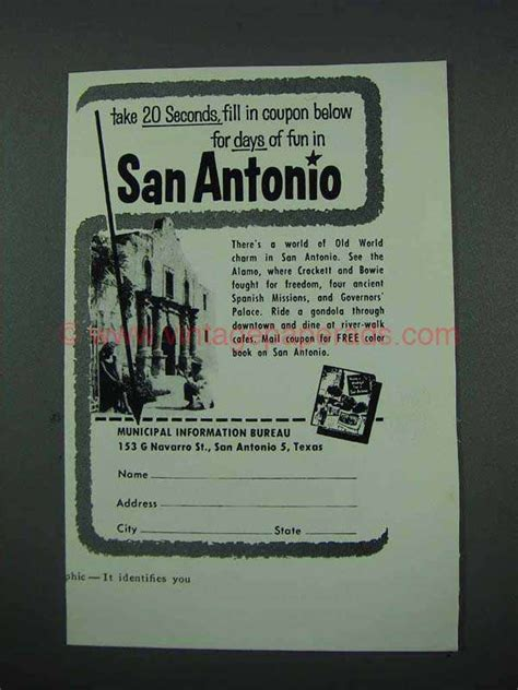 For Ten Days In San Antonio by 1961 San Antonio Ad For Days Of