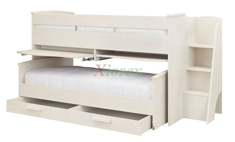 slide out bed cabin bed gami montana cabin bed w slide out bed in white