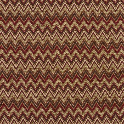 flamestitch upholstery fabric e722 red light green and brown woven chevron flame stitch