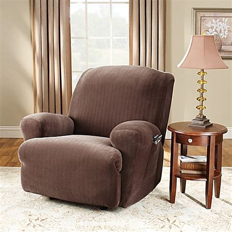 sure fit slipcovers bed bath beyond sure fit 174 stretch pinstripe recliner slipcover bed bath