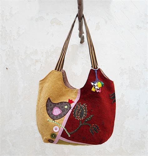 Handmade Patchwork Bags - hobo bag in green yellow patchwork bag bird
