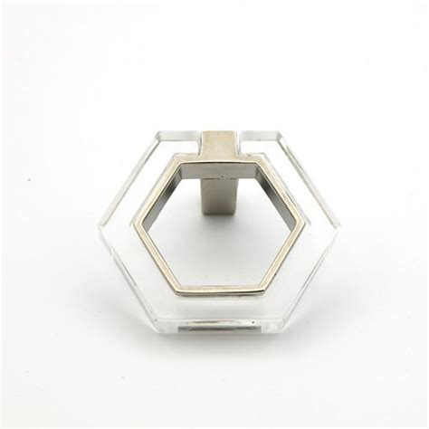 chrome and lucite geometric modern pull lucite knobs