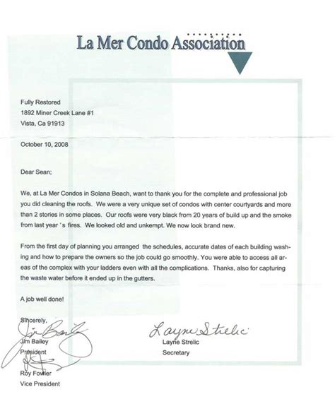 Closing Letter From Hoa Commercial Pressure Washing