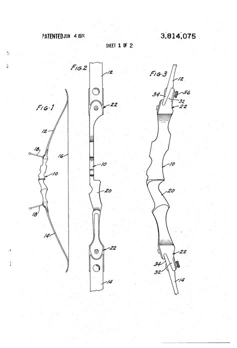 bow handle template patent us3814075 take archery bow with a mount for