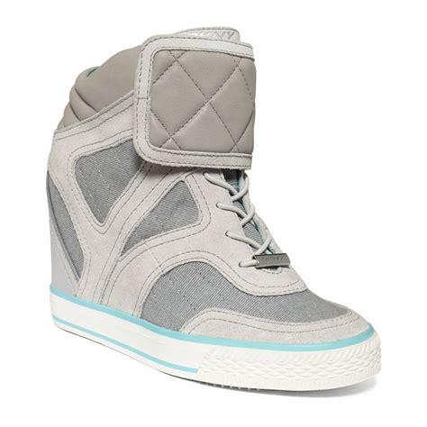 grey wedge sneakers dkny gracie wedge sneakers in gray grey lyst
