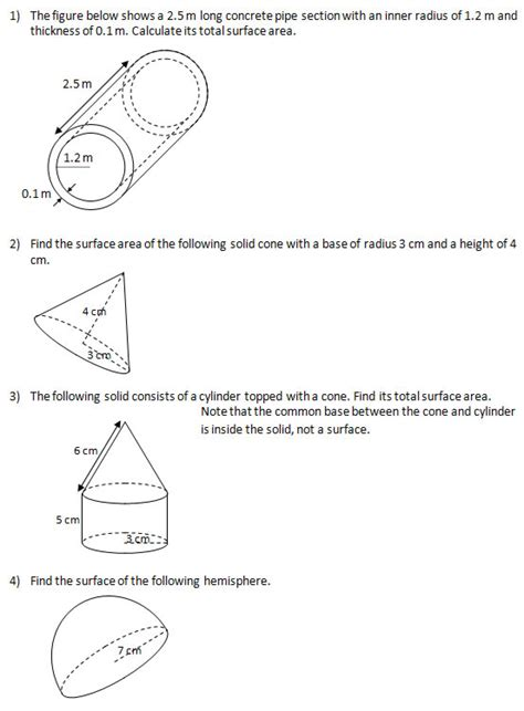 Surface Area Worksheets by Find The Surface Area Of Solids Iv Worksheets And Solutions