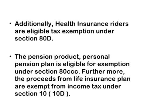 income tax exemption under section 80d lic presentation 001