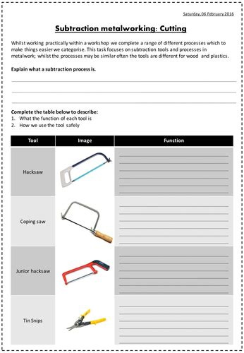 subtraction metalworking tools worksheets saws  files