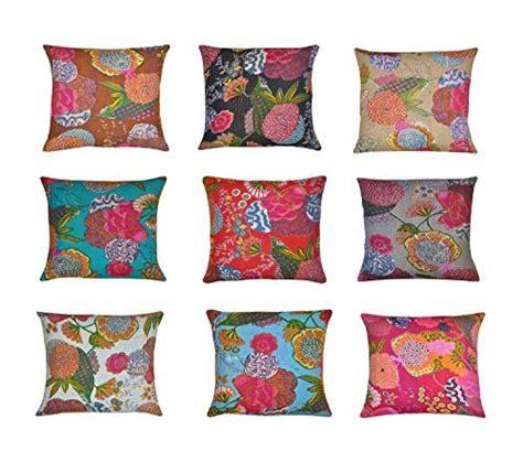 India Print Sofa Cushion Cover indian kantha throw cushion cover indian home decor pillow