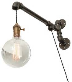 Industrial pipe suspended wall light industrial swing arm wall