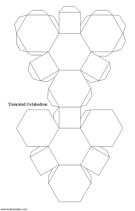 hexahedron template paper truncated octahedron