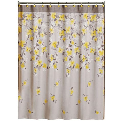 yellow print shower curtain saturday knight spring garden 70 in w x 72 in l floral