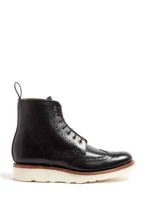 grenson black derby boots with rubber wedge sole in