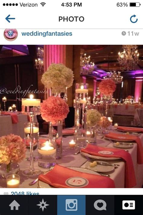 Coral Wedding Reception   Wedding Ideas   Pinterest   Wall