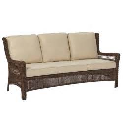 hton bay park brown wicker outdoor sofa with