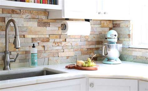 Natural Stone Kitchen Backsplash natural stackeed stone backsplash tiles for kitchens and