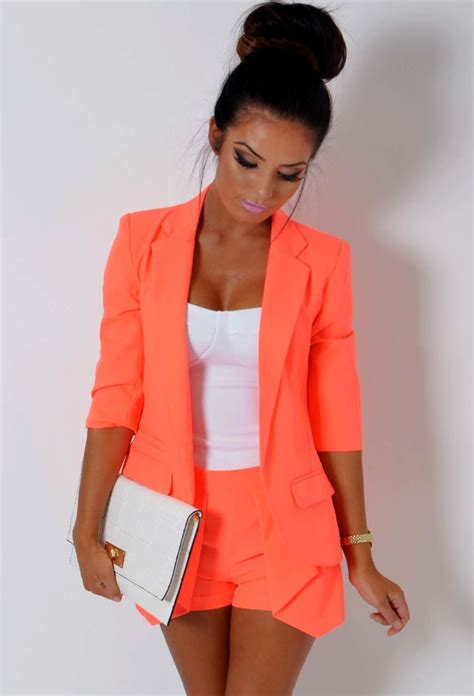 Blazer Orange zaffy neon orange fitted blazer jacket pink boutique