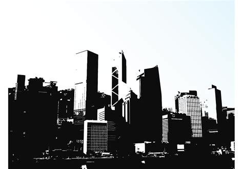 hong kong skyline   vector art stock