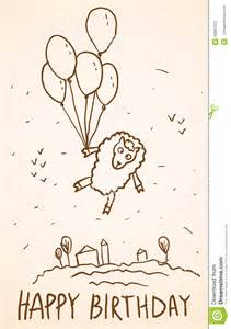 sketches for birthday card happy birthday card sheep with balloons stock