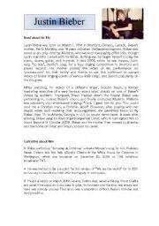justin bieber biography reading comprehension english teaching worksheets justin bieber