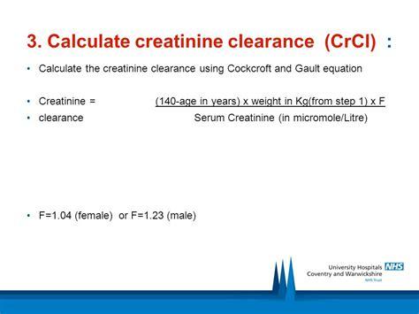 creatinine clearance serum creatinine clearance