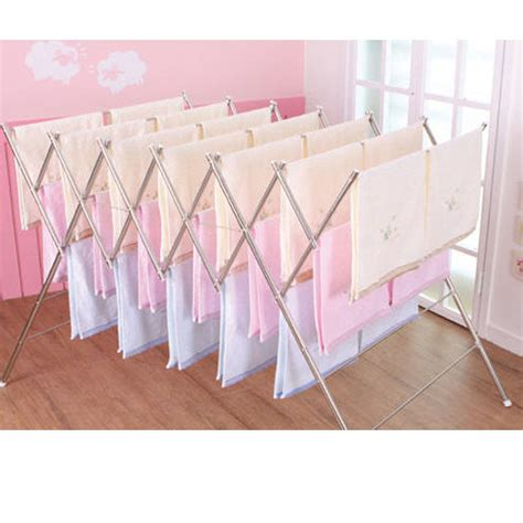 collapsible laundry rack stainless large folding clothes drying laundry towel rack