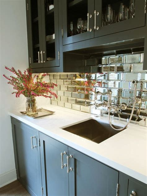 mirrored backsplash tile contemporary kitchen home interesting small beveled mirror tiles with marvelous