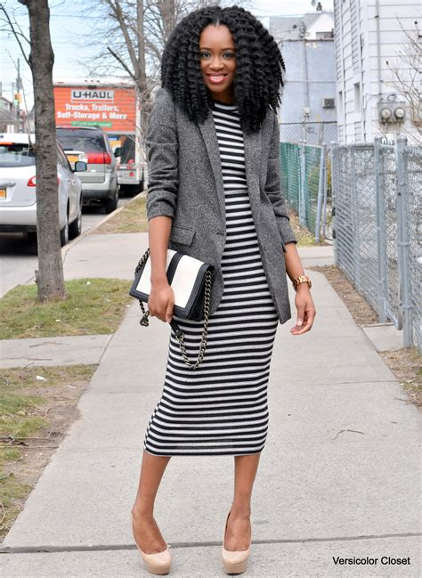 Boyfriend Striped Dress striped dress boyfriend blazer 1 versicolor closet