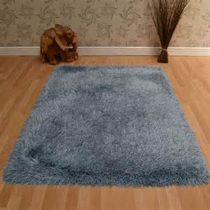 Custom Cowhide Rugs Cascade Shaggy Rugs In Duck Egg Blue Free Uk Delivery