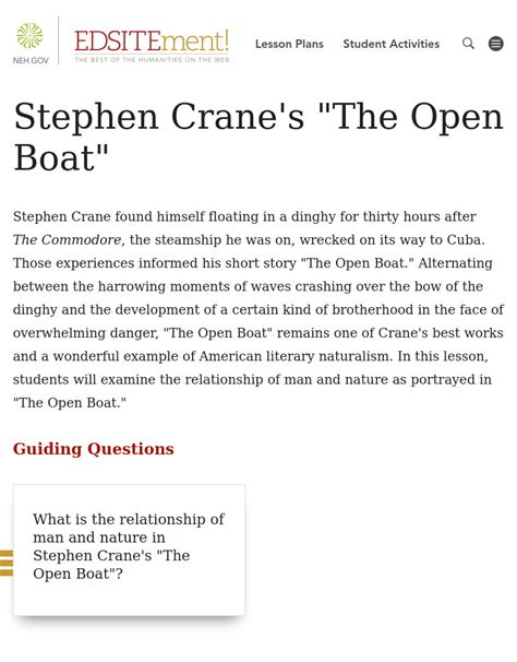 the open boat crane analysis stephen crane s quot the open boat quot lesson plan for 9th 12th