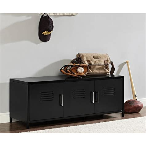 metal locker storage bench walker edison furniture company locker style 48 in black