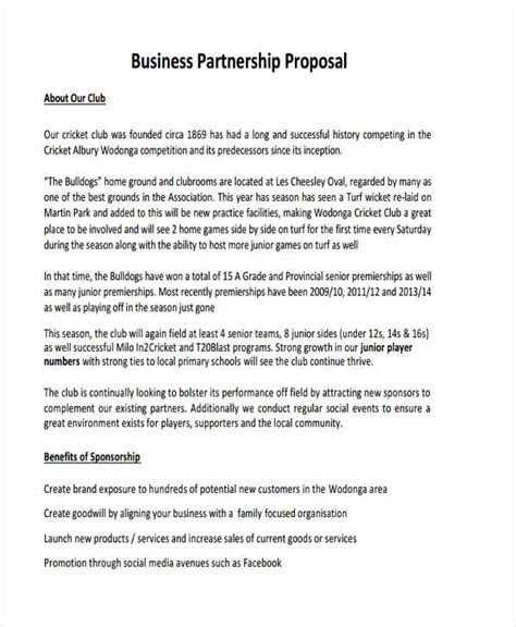 partnership proposal examples samples