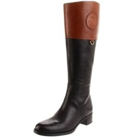 etienne aigner chastity two tone black brown boots