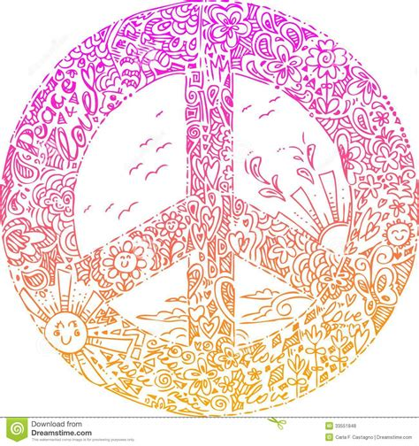 doodle peace sign pink peace symbol sketched doodles royalty free stock
