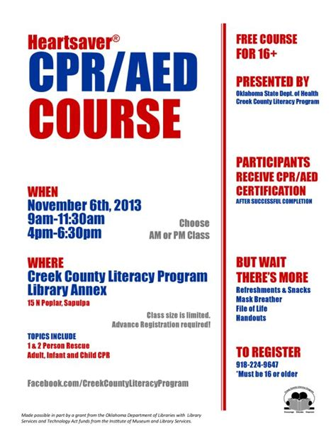 Free Heartsaver Cpr Aed Course Offered In Sapulpa Tulsa World Sapulpa News Aed Program Template