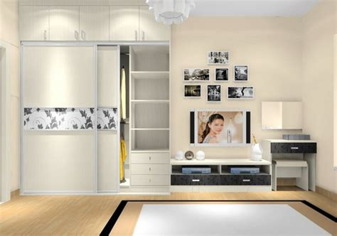 Bedroom Cabinets With Tv 3d Rendering Of Curtains And Tv Cabinet Modern Bedroom