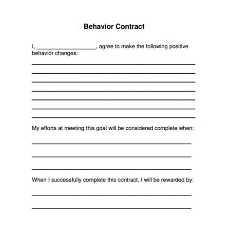 15 Behaviour Contract Templates Sle Templates Behavior Contract Template