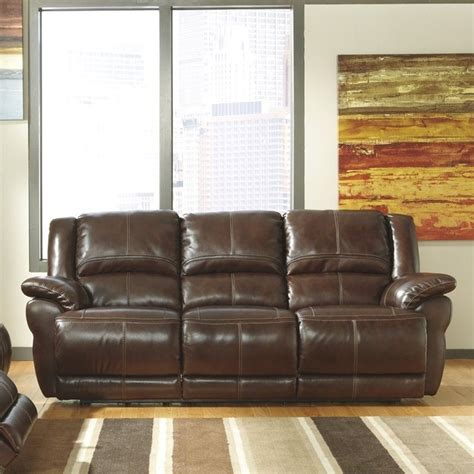 Ashley Furniture Lenoris Leather Power Reclining Sofa In Coffee Leather Sofa